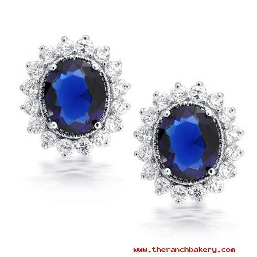 http://rubies.work/0470-sapphire-ring/ Outlet Women Jewelry Earrings Bling Jewelry Royal Simulated Sapphire CZ Flower Crown Oval Stud Earrings Rhodium