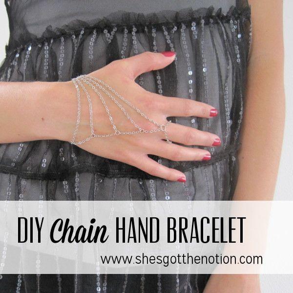 Chain Hand Piece: DIY jewelry bracelet tutorial | She's Got the Notion