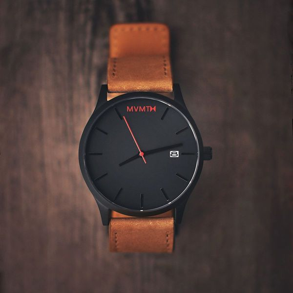 Black/Tan leather Watch by MVMT Watches