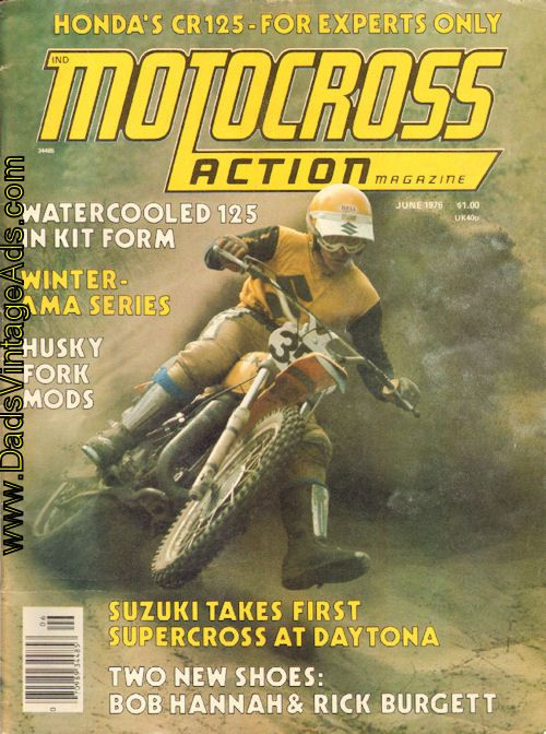 1976 June Motocross Action Motorcycle Magazine Back-Issue Cover Photo:  Winter-AMA Action