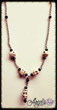Voodoo Howlite Skull and Bead Necklace