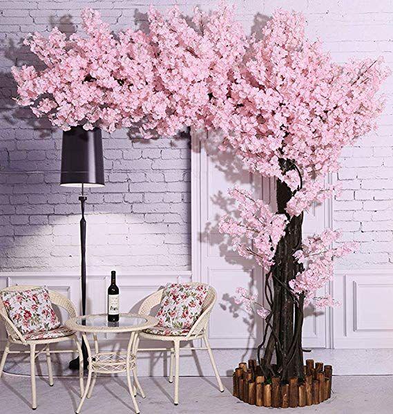 Amazon Com Vicwin One Artificial Cherry Blossom Trees Light Pink Cherry Blossom T Cherry Blossom Decor Pink Cherry Blossom Tree Artificial Cherry Blossom Tree