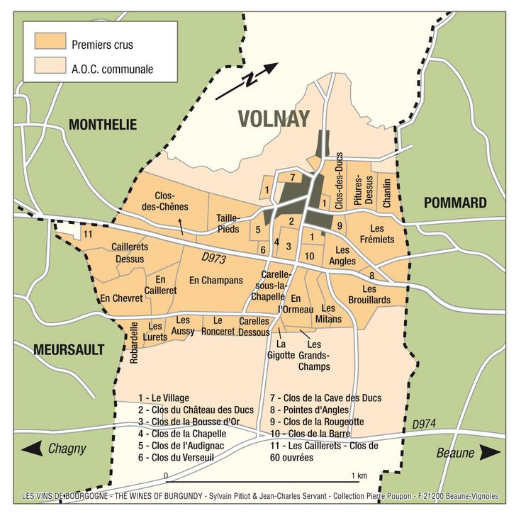 A detailed Map of Volnay, Burgundy @winesoffrance