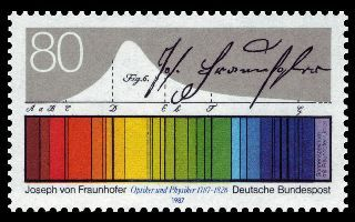 German stamp commemorating the 200th anniversary of the birth of Fraunhofer (Germany, 1987). Fraunhofer Lines are the dark lines in the absorption spectrum of the sun, described in detail by Joseph von Fraunhofer. Of the 25,000 lines in the solar spectrum, von Fraunhofer mapped 576, assigning letters to identify the most prominent ones.