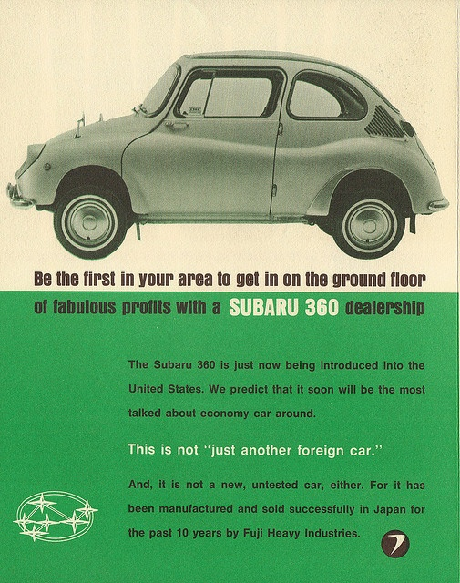 Promotional piece to find dealers to sell the new Subaru 360 in the USA. Malcolm Bricklin was the man behind this project, later the builder of the Bricklin car in Canada and importer of the Yugo.