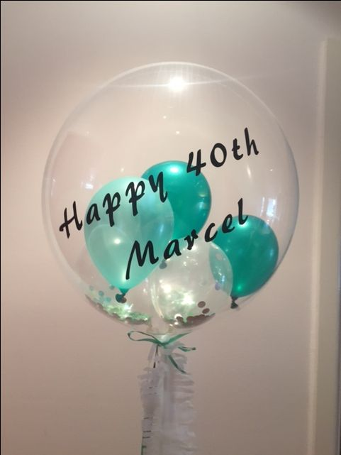 emerald confetti gem balloon with custom text