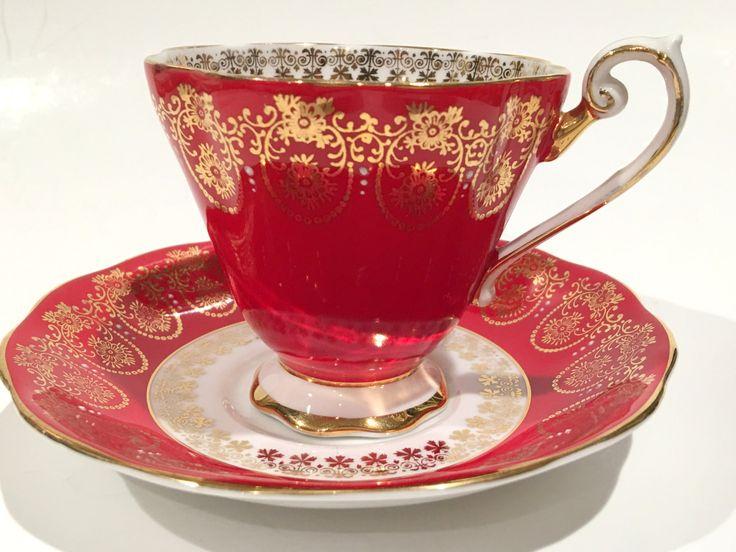 Royal Standard Tea Cup and Saucer, Tea Set, Red Gold Cups, Antique Teacups…