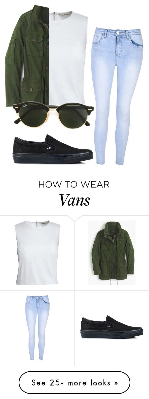 """""""#No name"""" by eemaj on Polyvore featuring Canvas by Lands' End, Glamorous, J.Crew, Vans and Ray-Ban"""