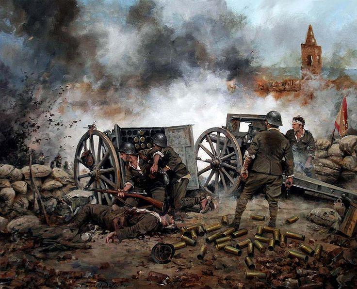 """Al Pie del Cañón"""", Sobre la batalla de Belchite, (Guerra Civil Española 1936/39). Artista Augusto Ferrer Dalmau."""