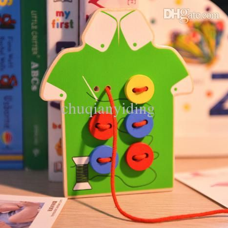 Дети Монтессори Развивающие Игрушки Детские Бусы Шнуровка Совет Деревянные Игрушки Малышей Пришивать
