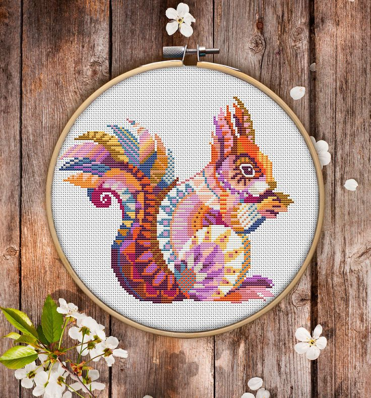 This is modern cross-stitch pattern of Mandala Squirrel for instant download. You will get 7-pages PDF file, which includes: - main picture for your reference; - colorful scheme for cross-stitch; - list of DMC thread colors (instruction and key section); - list of calculated
