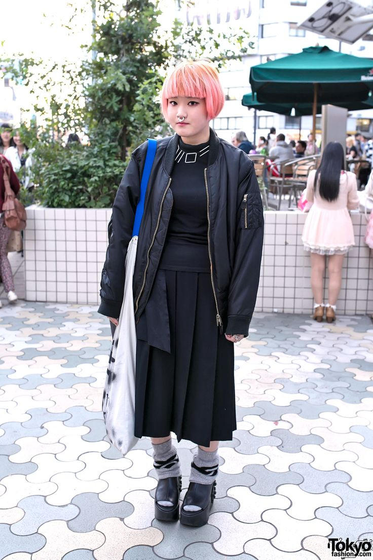 Aleksander l gina tricot handbag from 2010 h amp m sunglasses 2006 - Kinji Harajuku Staffer With A Pink Bob And Nose Ring Oversized Bomber Pleated Skirt Loose Socks And Tokyo Bopper Studded Platforms