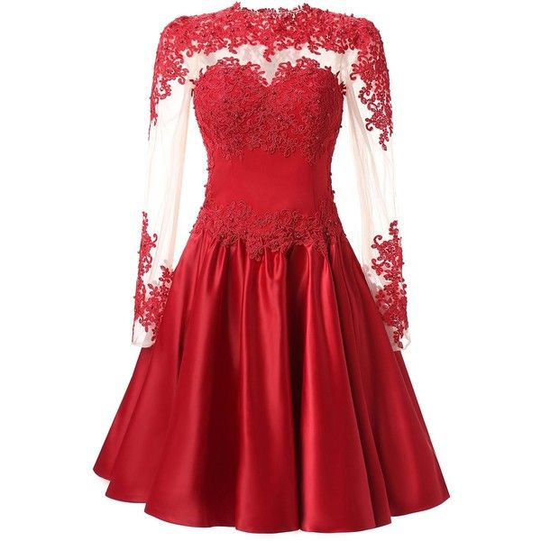 VogueDress Prom Dresses Short A-Line Scoop Long Sleeves With Applique ($110) ❤ liked on Polyvore featuring dresses, red a line dress, prom dresses, short red dress, a line silhouette dress and red prom dresses