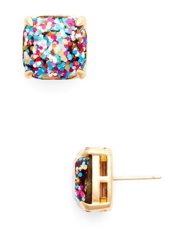 kate spade new york Small Square Glitter Stud Earrings | Bloomingdale's