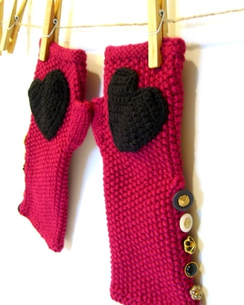 Fingerless Knitted Gloves Valentine's Vegan Mittens by JustColor, $56.00