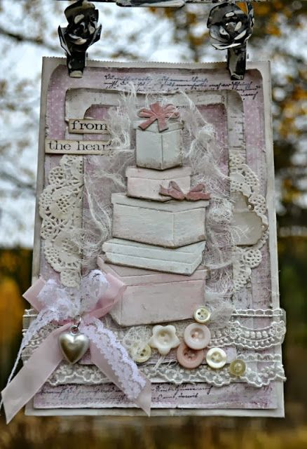Previous pinner: by Mette`s Kortverden shabby chic card.  at My English Personal blog: http://stampingwithbibiana.blogspot.com/