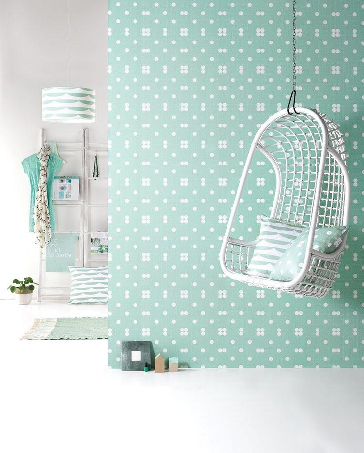 Behang Dots Pastelgreen