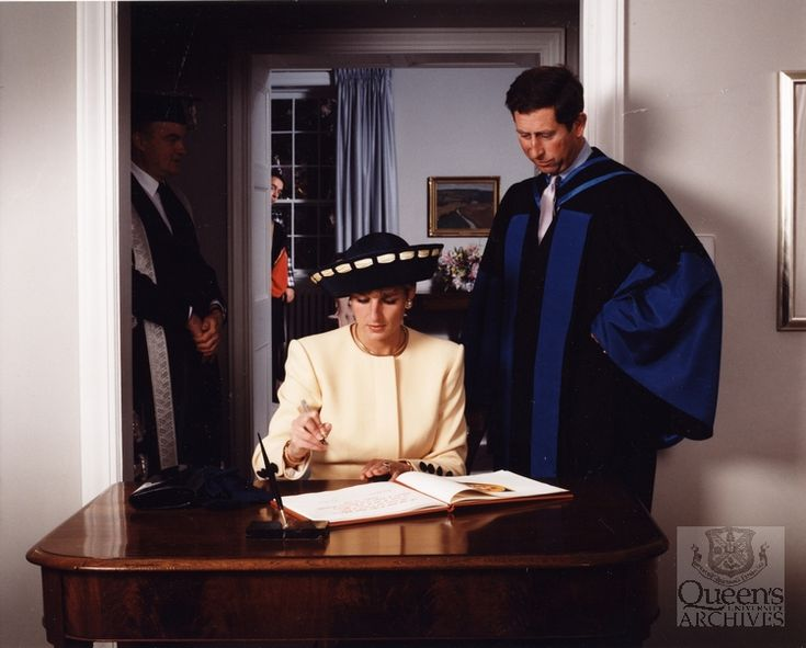 Charles & Diana visit Queen's University, Kingston, Ontario Canada October 28,1991 and sign the guest book.