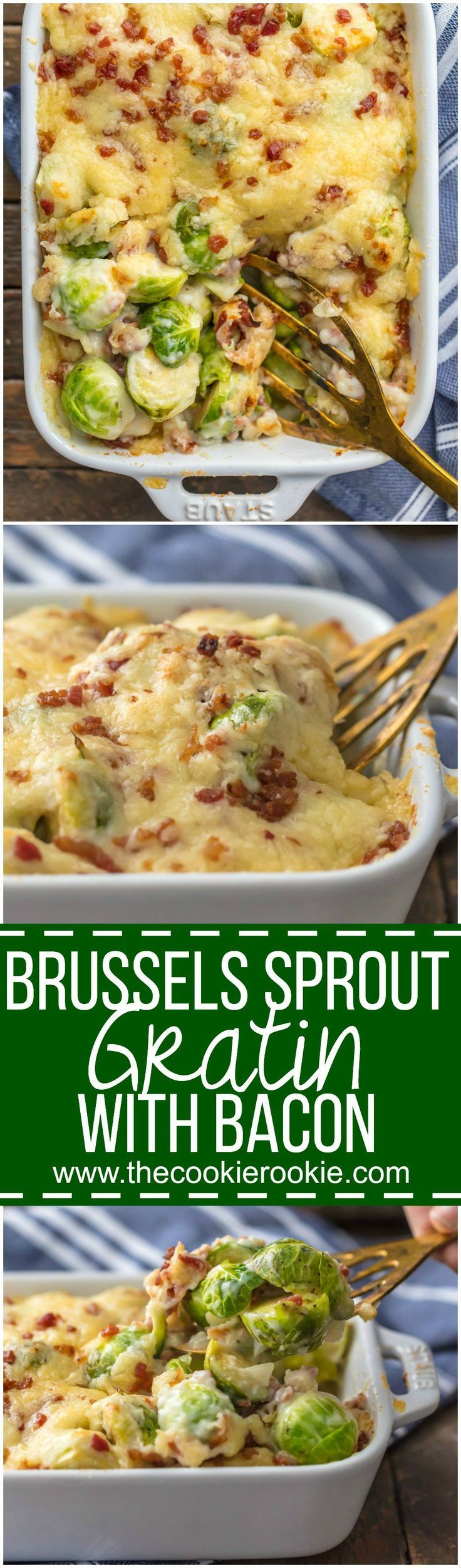 BRUSSELS SPROUT GRATIN with BACON is the ultimate holiday side dish! Who can resist brussels sprouts when sprinkled with bacon and SO MUCH CHEESE!