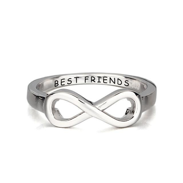 """BEST FRIENDS"" Engraved Infinity Promise Rings"