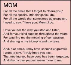 thank you mom quotes from daughter - Google Search...