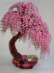 Японское дерево сакура из бисера. Пошаговые схемы плетения сакуры. | Домоводство для всей семьи.