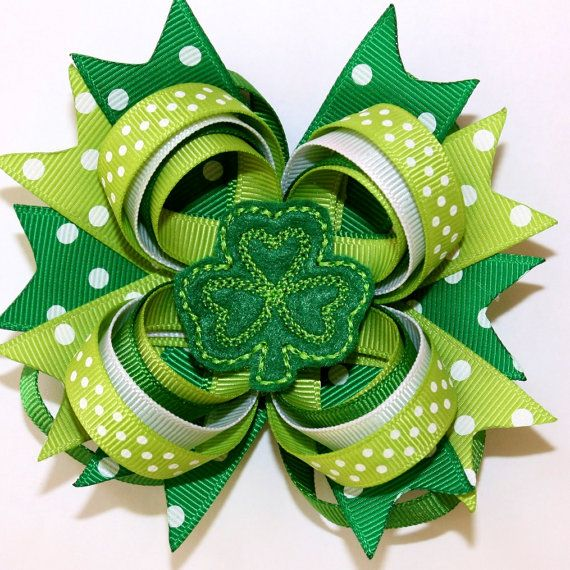"""4"""" Happy St. Patrick's Day Shamrock Emerald Lime Green & Polka Dots Stacked Hair Bow"""