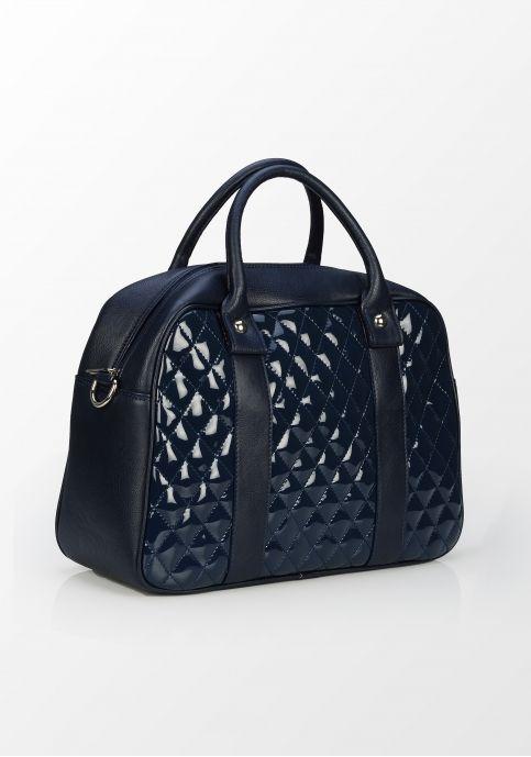 Tris Company, geantă matlasată cu detalii lăcuite, bleumarin