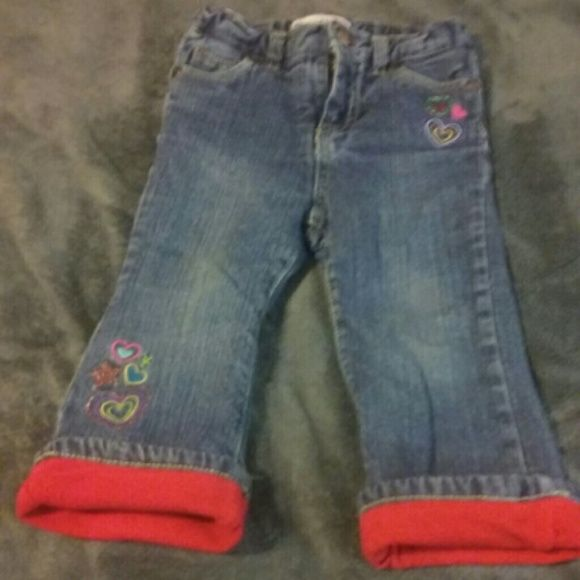 18 mo. Fleece lined Jeans Warm jeans for your little angel?  She will stay warm in these cute jeans adorned with hearts. Jeans