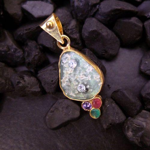 Handmade-Designer-Real-Roman-Glass-Pendant-22K-Gold-Over-925K-Sterling-Silver