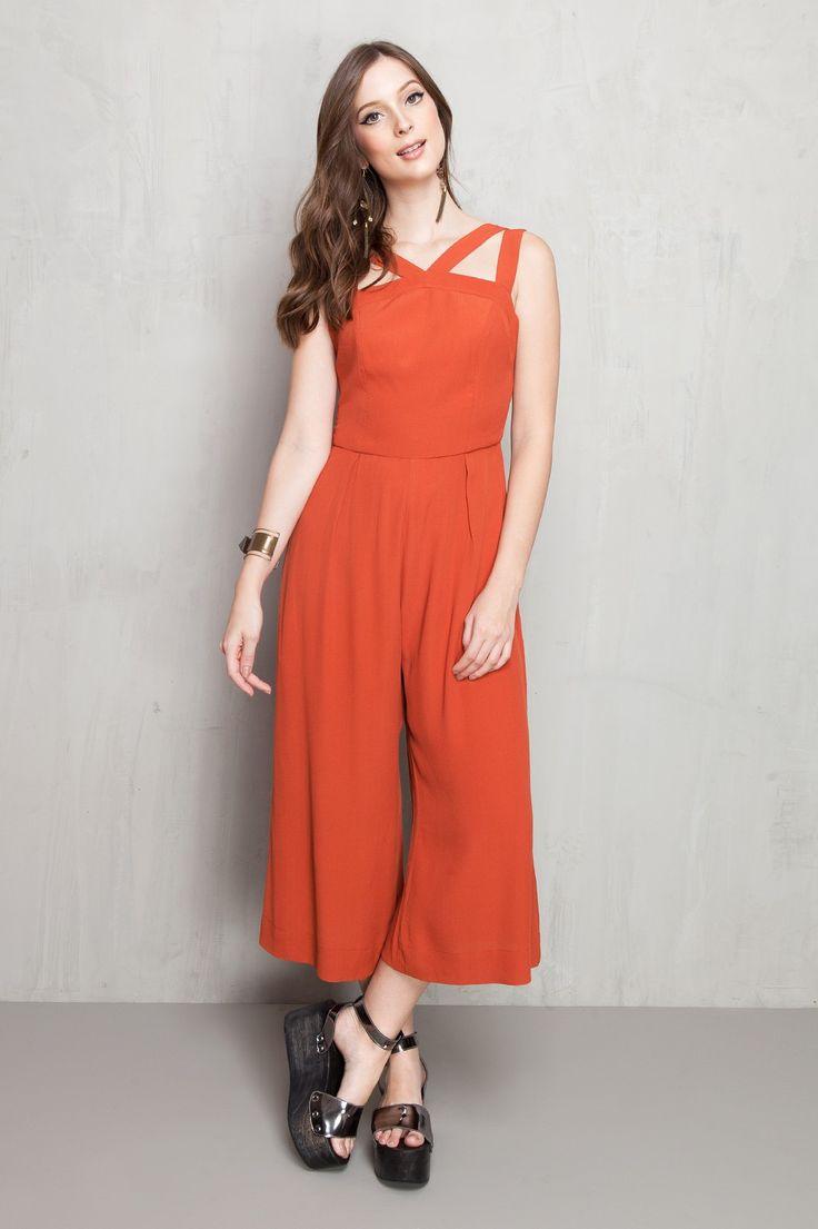 Macacão midi | vermelho | Pantacourt | pantalona | detalhes frente