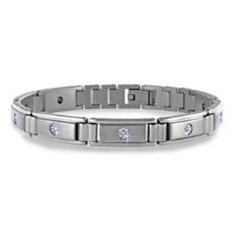 Stainless Steel, 10k White Gold & Diamond Mens Bracelet (0.20 ctw, SI-GH)