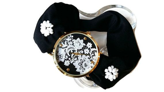 Womens Personalized Black and White Floral by HARMONYHOURWATCHES