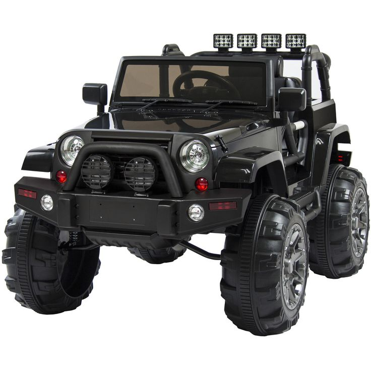 Kids Jeep Battery 12V Ride On Car Truck Remote Control 3 Speed LED Black