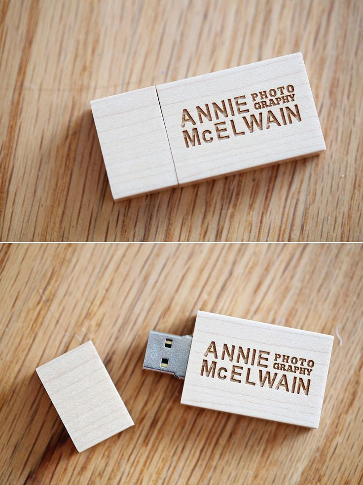 Custom USB drive via @annie mcelwain photography.  Looks like they are from here: http://www.pexagontech.com/products/flash-drives/wooden-usb-flash-drives/square-wooden-drives.php - great idea!
