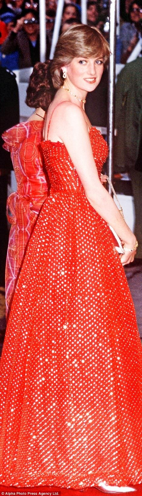 Lady in red: For a night at Covent Garden in 1982, Diana wears a dress in glitter chiffon by Bellville Sassoon