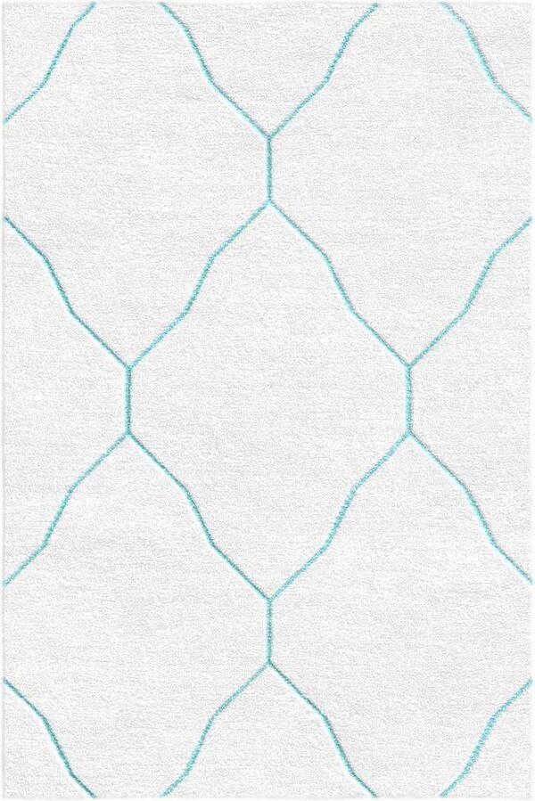 Volk Geometric Hand Tufted Wool Silver Sky Blue Area Rug In 2020 Blue Area Rugs Area Rugs Rugs