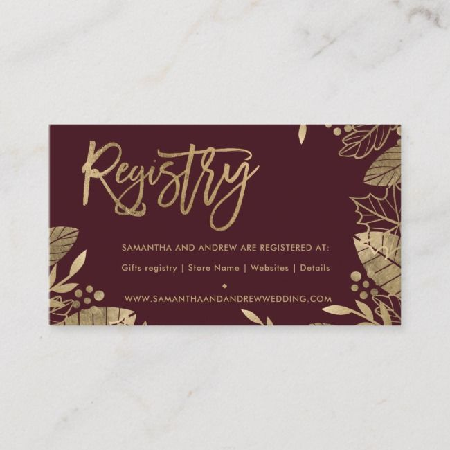 Gold Leaves Fall Chic Red Wedding Registry Enclosure Card Ad Sponsored Red Chic Registry Wedding Red Wedding Wedding Registry Fall Wedding Invitations