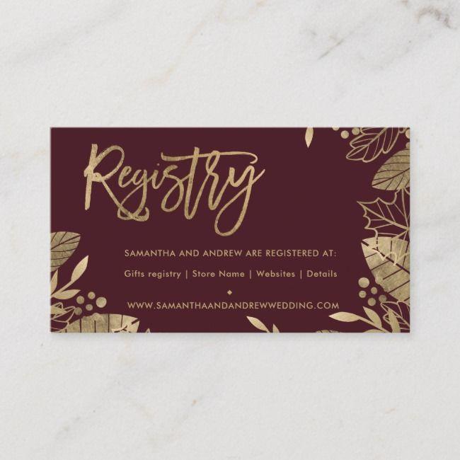 Goldblätter fallen schicke rote Hochzeitsregister-Einschließungskarte | Zazzle   – Card Ideas