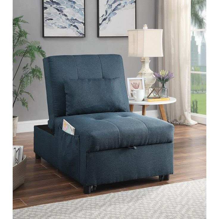 Furniture of america norley blue futon with pillowidf