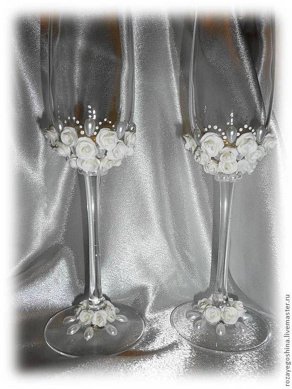 """Купить Свадебные бокалы""""Бахетле"""" - белый, свадебные бокалы, бокалы для свадьбы, бокалы для молодоженов, бокалы для шампанского"""