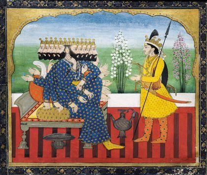 Alors Hanuman fait des ravages dans les rangs de l'armée maléfique des raksasa, le roi des démons Ravana fait appel à son fils aîné Indrajit, qui détient l'extraordinaire pouvoir de se rendre invisible sur le champ de bataille. Chant V, page 116. École Pahari, Jammu, vers 1820. Gouache et or sur papier. Collection privée. Ramayana