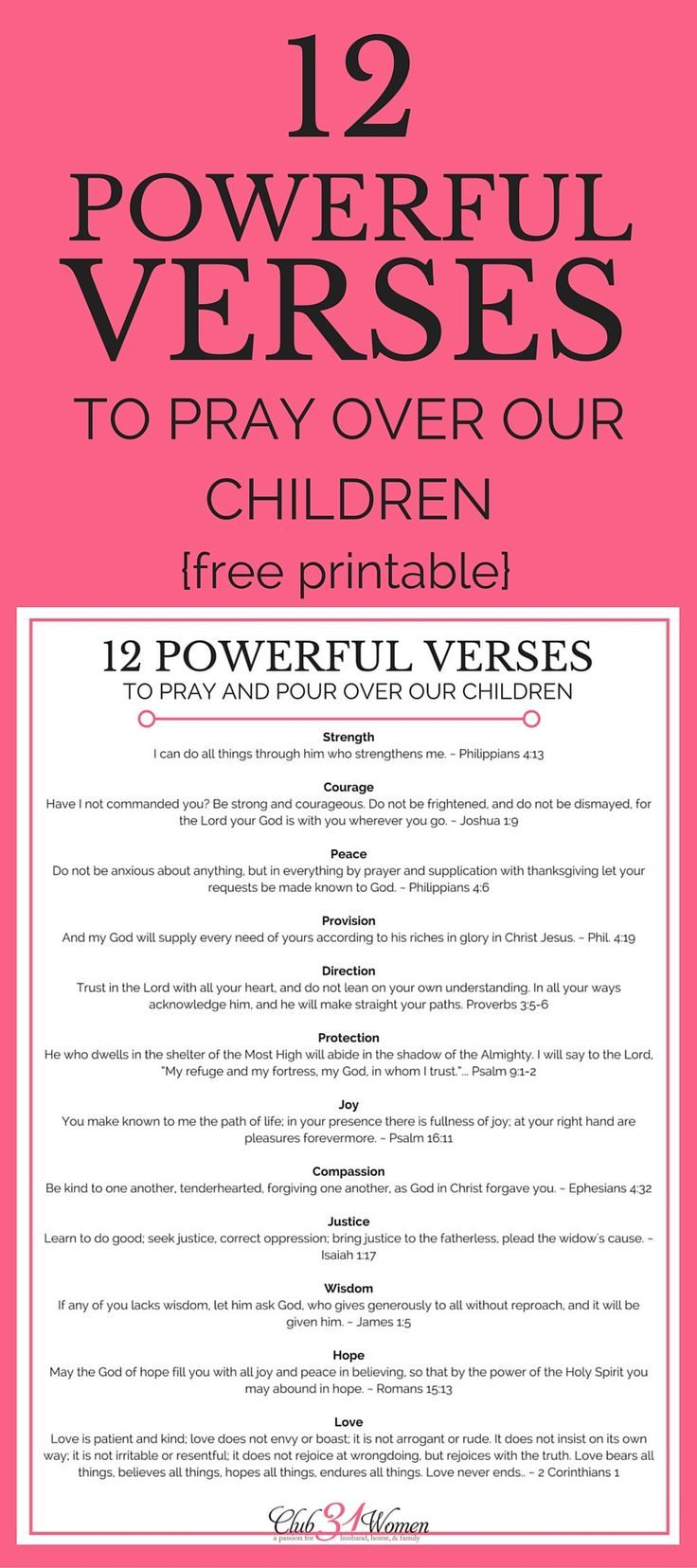 12 Powerful Verses to Pray Over Our Children with free printable