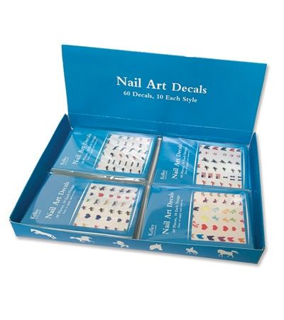 Horse Nail Art Decals Display Box with 24 Sheets - Nail Art Decals are fun, colorful and easy to apply. For best appearance, paint nail with a base coat of nail polish (white or your favorite color). Remove sticker from sheet and apply to nail. Paint nail with a top coat of clear nail polish.