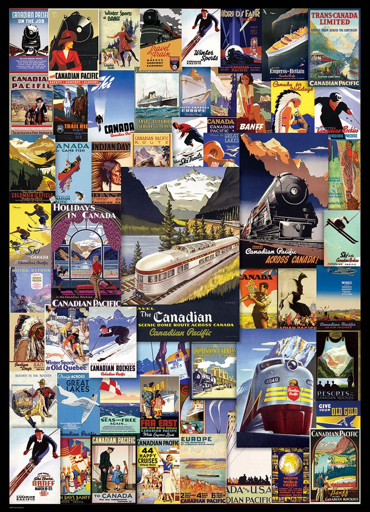 "Canadian Pacific Adventures. 1000 piece puzzle. Finished Puzzle Size: 19.25"" x 26.5"". Travel across Canada with this historic collection of Canadian Pacific images. From Windsor Station in Montreal to Banff, Alberta and all points between - this train is bound for the adventure of a lifetime!"