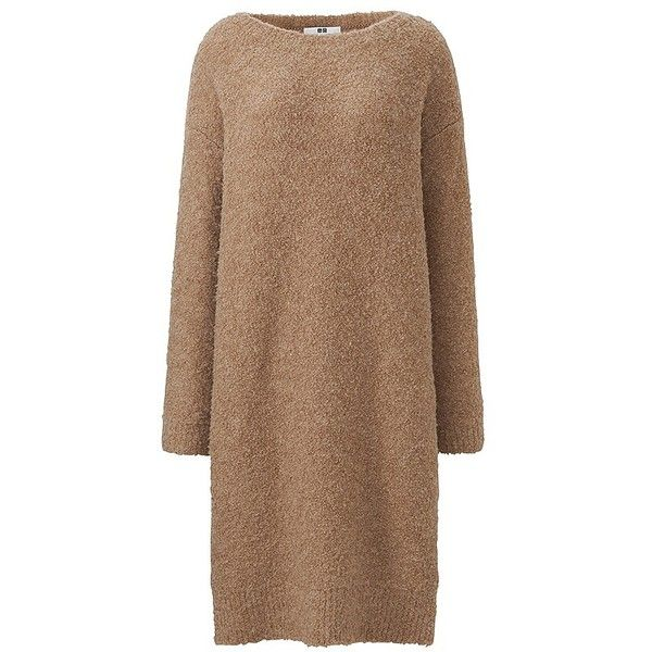 UNIQLO Boucle Knit Long Sleeve Dress ($24) ❤ liked on Polyvore featuring dresses, uniqlo, long sleeve dress, textured knit dress, loose fit dress and uniqlo dress