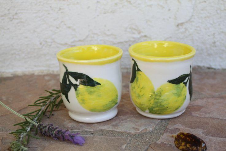 Limoncello Shot Glass set of 2 - reduced price - ceramic shot glass hand painted lemons handmade pottery lemon cup liquor glass unique gifts by ManuelaMarinoCeramic on Etsy
