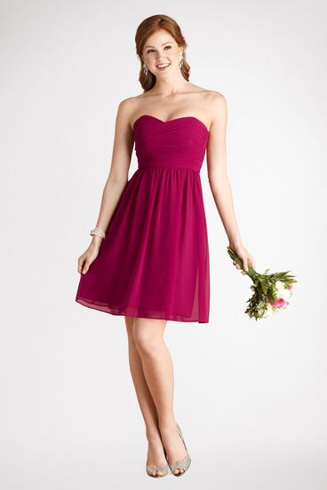 The ruched bodice is a flattering detail on this flowy sweetheart Berry Bouquet chiffon dress.