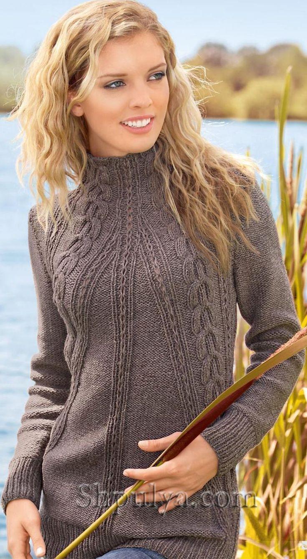 Удлиненный пуловер с косами спицами