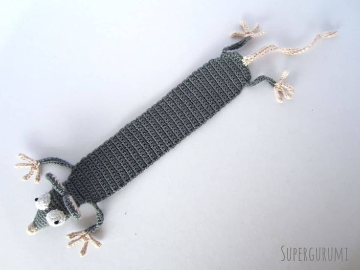 Amigurumi Rat Bookmark Length